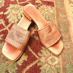 Sesto Meucci Woven Tan Leather Slide Sandal 8 1/2